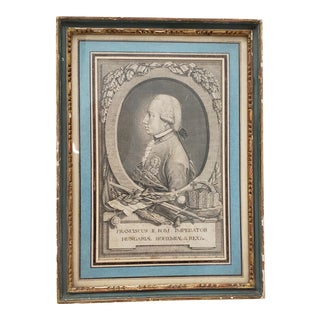 """Holy Roman Emperor """"Francis II"""" Engraving, 19th Century For Sale"""