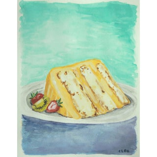 Dessert Cake Still Life Painting by Cleo
