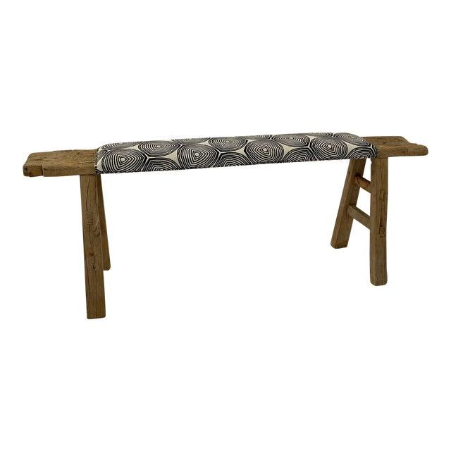 1970s Vintage Shandong Upholstered Bench For Sale