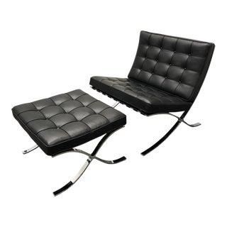 Contemporary Ludwig Mies Van Der Rohe Barcelona Chair & Ottoman - 2 Pieces