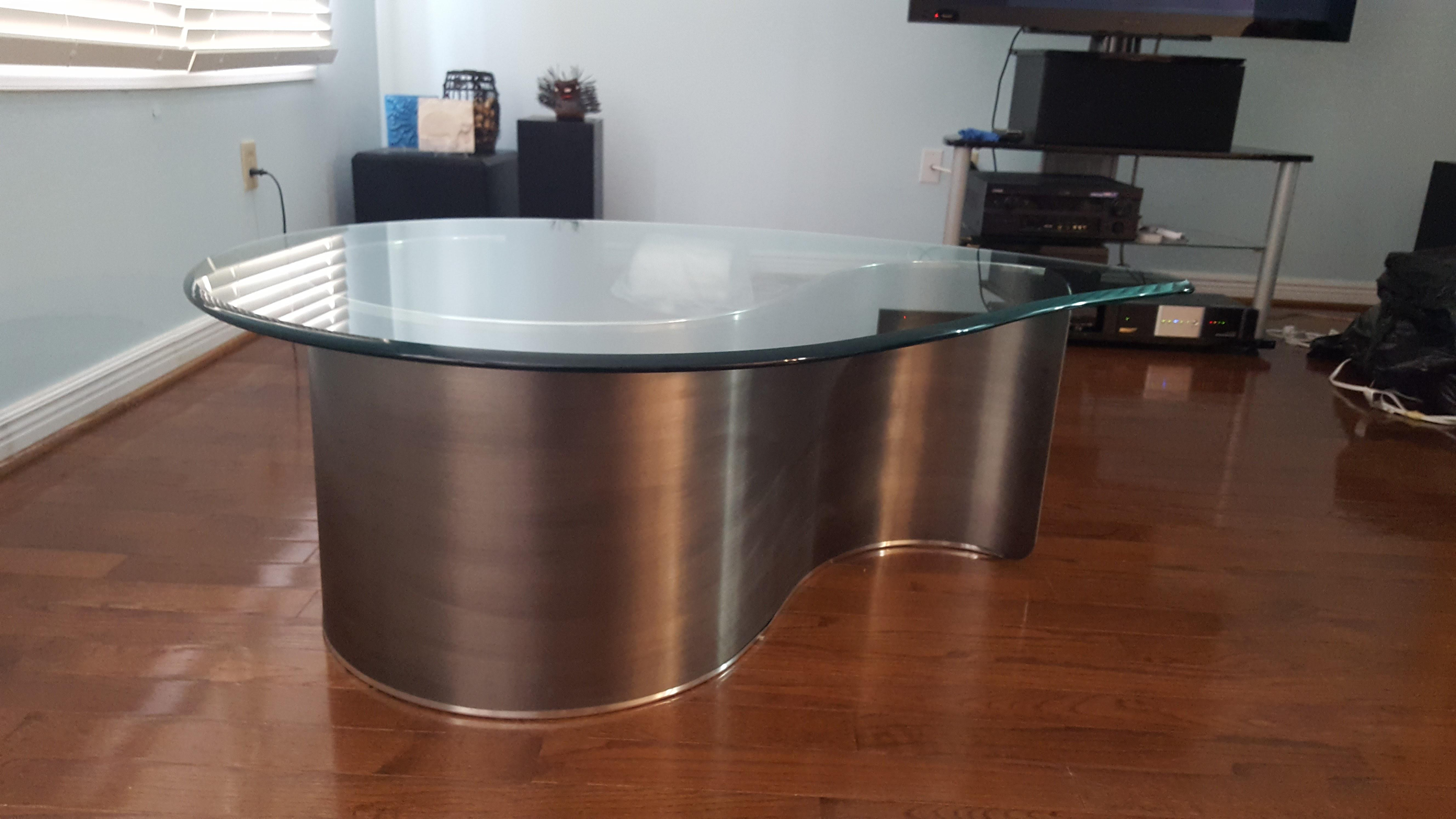 Kagan Style Mid Century Modern Glass Metal Biomorphic Coffee Table. $500.  Kagan Style Mid Century Modern Glass Metal Biomorphic Coffee Table ...