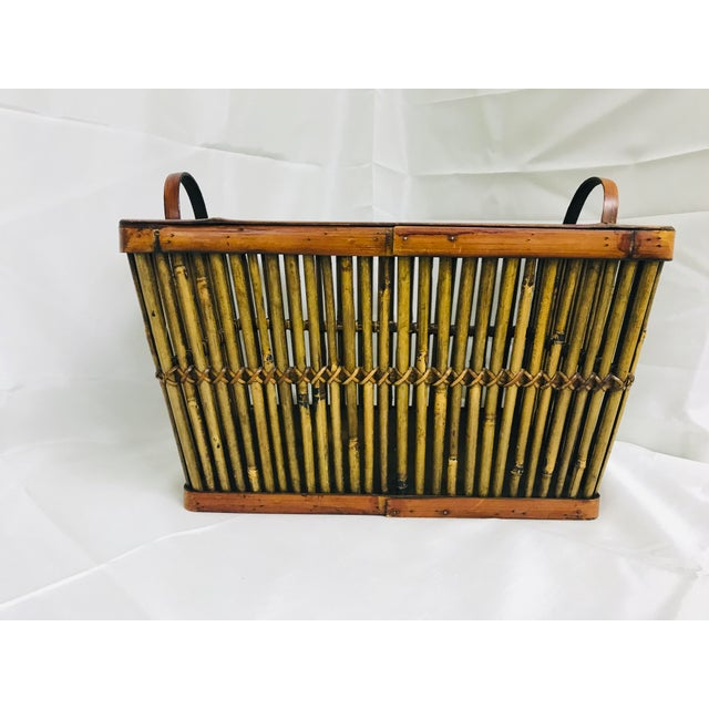 Boho Chic Vintage Hand Crafted Bamboo Basket For Sale - Image 3 of 10