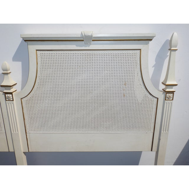 French Provincial White & Gold Cane Headboard - Image 8 of 11