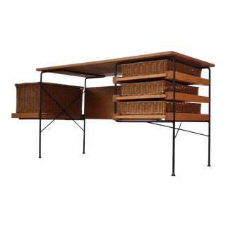 Rare Maple and Iron Desk by Arthur Umanoff