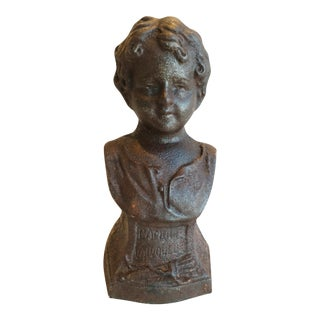 French Antique 19th Century Cast Iron Female Bust For Sale