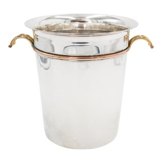French Art Deco Silver Plate & Brass Champagne Bucket For Sale