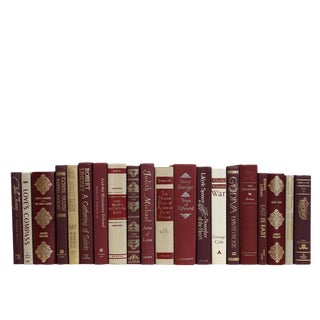 Crimson Linen + Gilt Book Set(s/20) For Sale