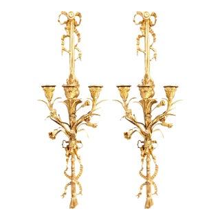 Pair of Louis XVI Style 3-Light Doré Bronze Wall Sconces Floral Ribbon Decorated For Sale