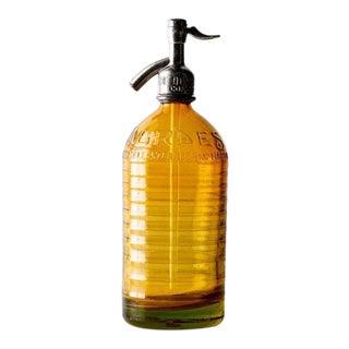 Vintage Amber Seltzer Bottle For Sale