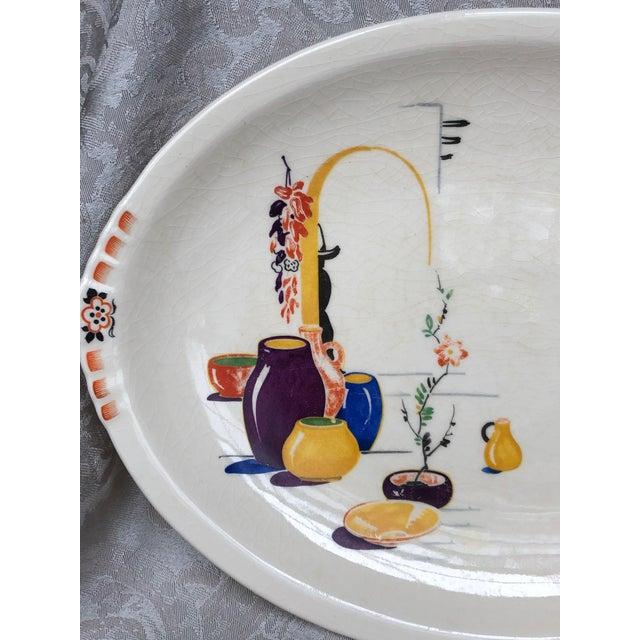 1940s Paden City Pottery Southwestern Mexico Transferware Design Platter For Sale - Image 5 of 13
