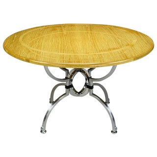 Jay Spectre Eclipse Dining Table in White Oak & Steel For Sale
