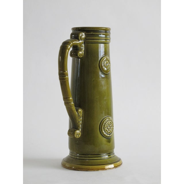 French Green Pitcher W/ Medallions - Image 4 of 6