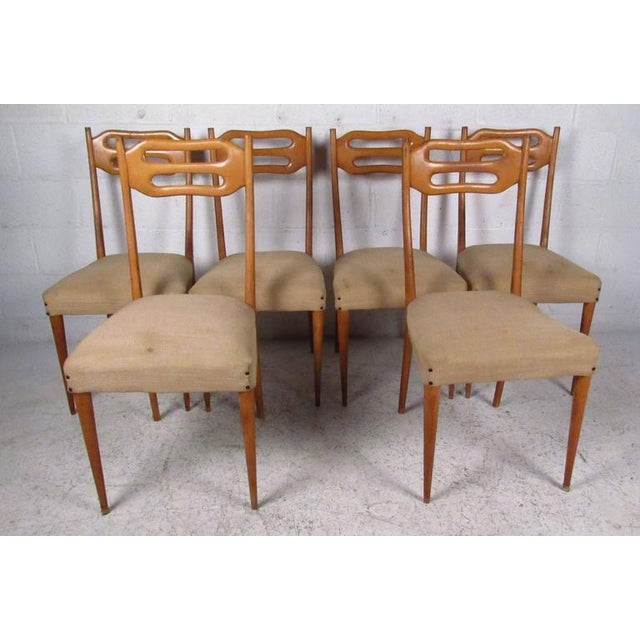 Set of six stylish high-back dining chairs with maple frames and upholstered seats. Please confirm item location (NY or...