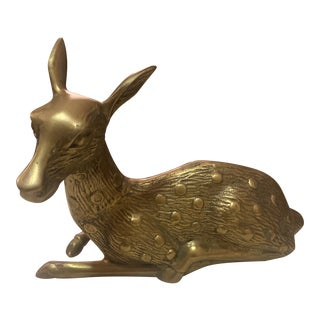 Brass Resting Deer Statue For Sale