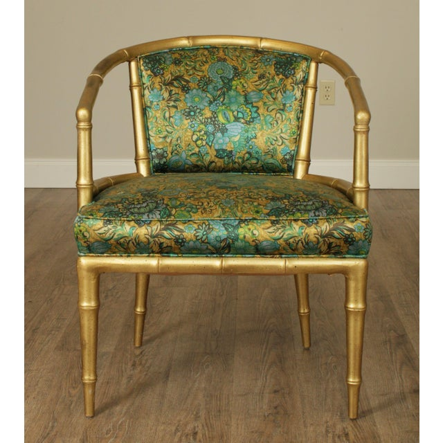 Wood Hollywood Regency Faux Bamboo Mid Century Gilt Wood Barrel Back Armchairs - a Pair For Sale - Image 7 of 13