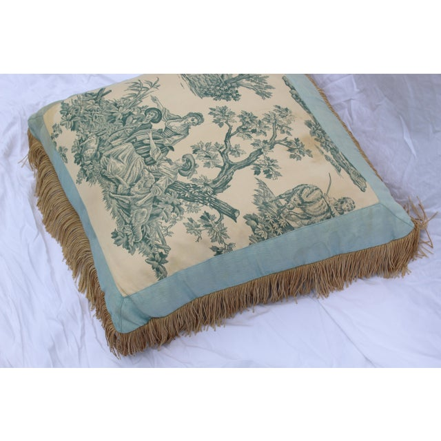 20th Century French Blue Toile Very Soft Down Pillow For Sale - Image 10 of 13