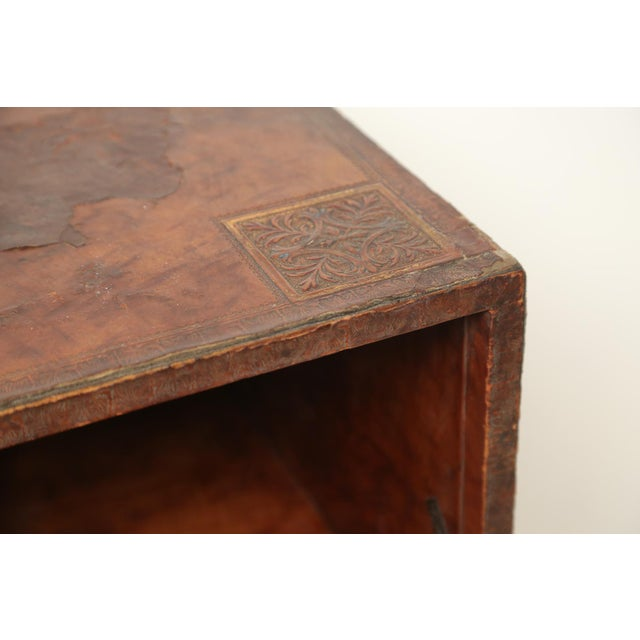 Animal Skin Tooled Leather Spanish Bargueno Traveling Chest For Sale - Image 7 of 8