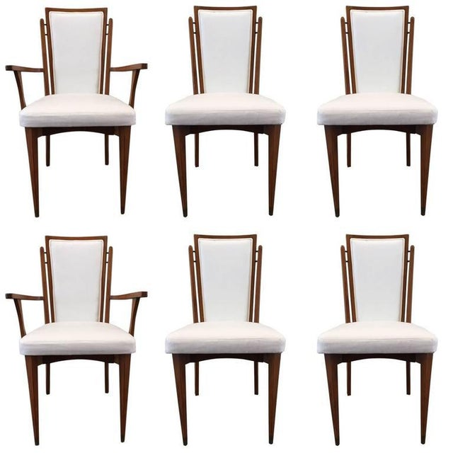White Set of Six Walnut Italian Dining Chairs For Sale - Image 8 of 8