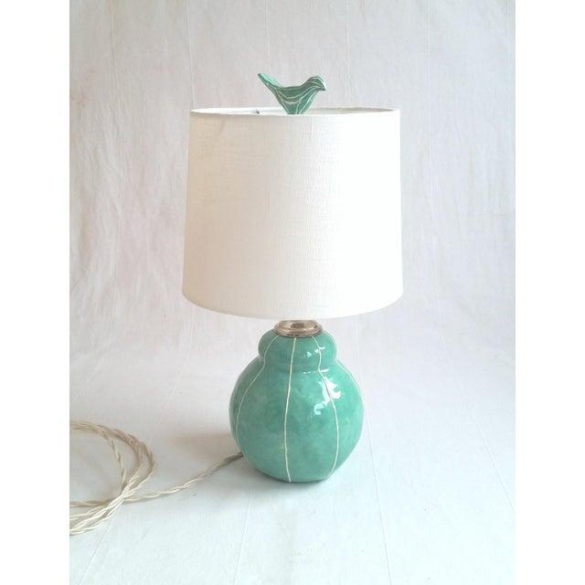 Folk Art Jade Green Ceramic Bird Finial For Sale - Image 3 of 6