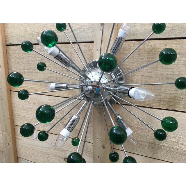 Early 21st Century Flush Mount Wall Sconce Murano Glass Sputnik Green Metal Frame in Color Kromo For Sale - Image 5 of 7