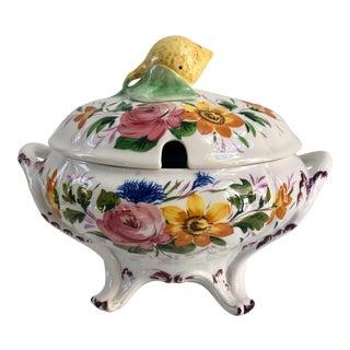 1930s Italian Majolica Renaissance Revival Faience Nove Rose Lemon Top Soup Tureen For Sale