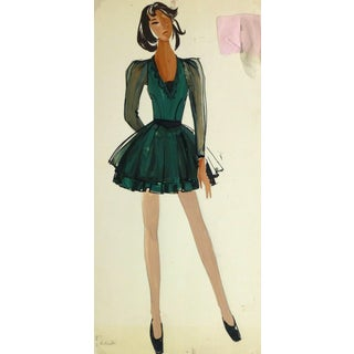 French Fashion Sketch - Ballerina Dress For Sale
