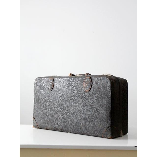 Vintage Black Leather Suitcase - Image 4 of 8