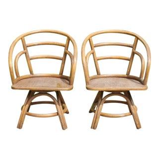Brown Jordan Rattan Swivel Chairs - Pair