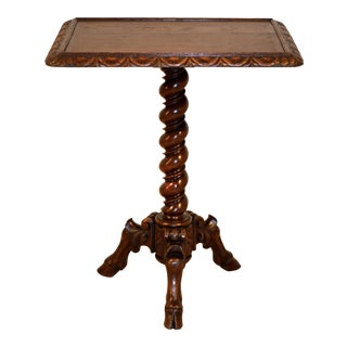 19th C French Pedestal Side Table For Sale