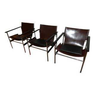 1960s Vintage Charles Pollack for Knoll Brown Leather Sling #657 Chair For Sale