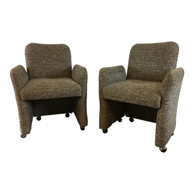 Vintage Tweed Accent Chairs - A Pair - Image 1 of 9