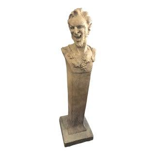 1920s Vintage Italian Terra-Cotta Satyr God of the Woods Pedestal For Sale