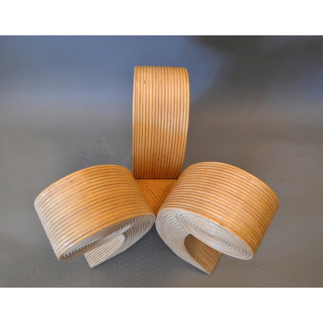 Glass Art Deco Style Rattan Pencil Reed Sculptural End Tables, Side Tables - Pair For Sale - Image 7 of 13