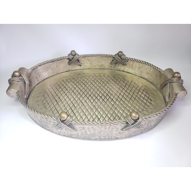 Vintage John Richard Collection Silver Plate Hammered Serving Tray For Sale - Image 13 of 13
