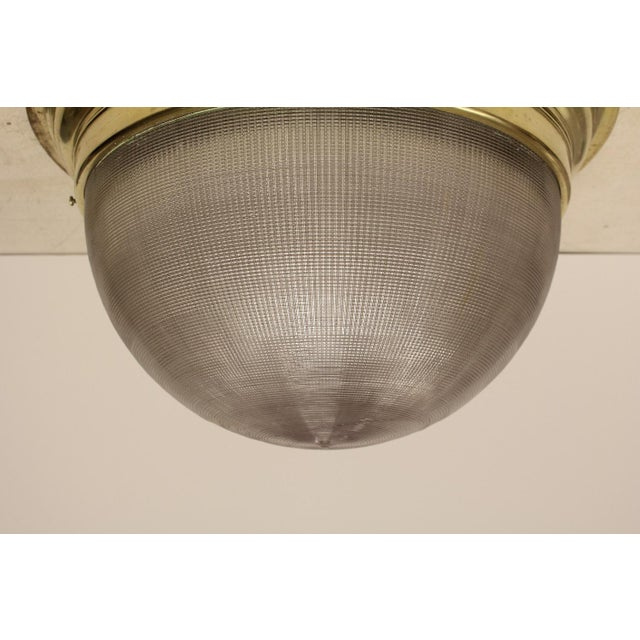 """Large Mid-Century French Holophane Flush Mount With Brass Frame. We have 9 available. """", H 12"""" Diameter 20"""""""