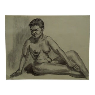 """1959 Mid-Century Modern Original Drawing on Paper, """"Chubby Black Woman Nude"""" by Tom Sturges Jr. For Sale"""