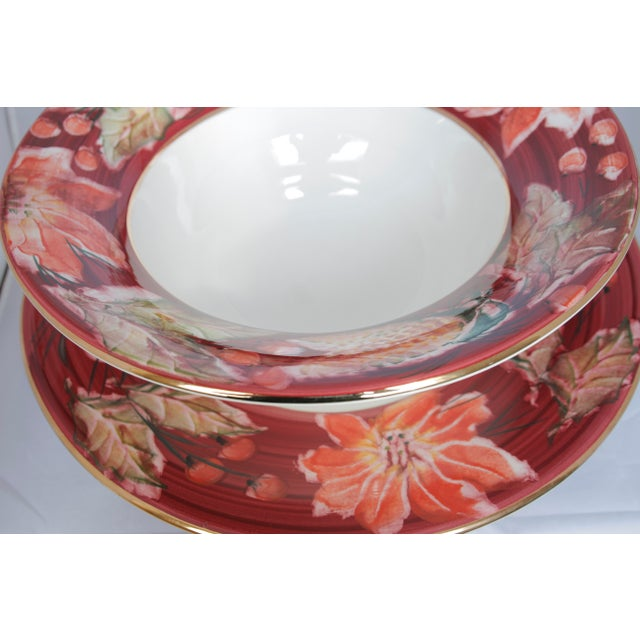 Italian Porcelain Poinsettia Holiday Serving Bowl and Plate For Sale - Image 4 of 11