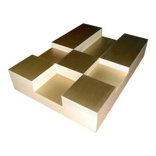"Goatskin and Brass ""Cube"" Design Coffee Table For Sale"