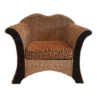 Seagrass and Wood Club Chair For Sale