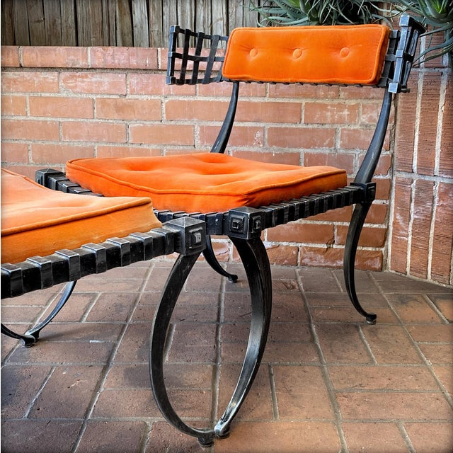 What a statement piece! Cast-aluminum Klismos Lounge Chair and Ottoman by Thinline. The high style of 1960s Southern...