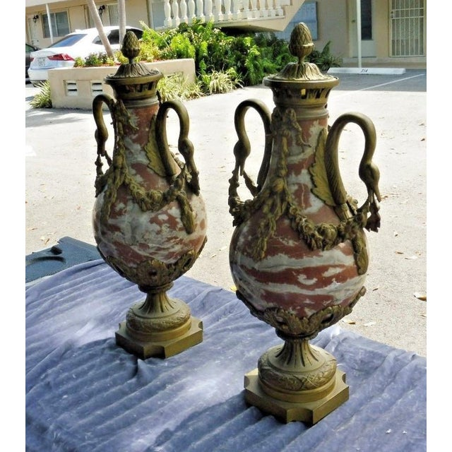1950s French Rouge Marble Urns With Bronze Swan Heads and Mounts - a Pair For Sale - Image 11 of 13