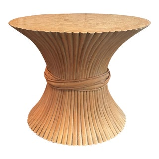 1970's Vintage Hollywood Regency Bamboo Wheat Sheaf Side Table For Sale