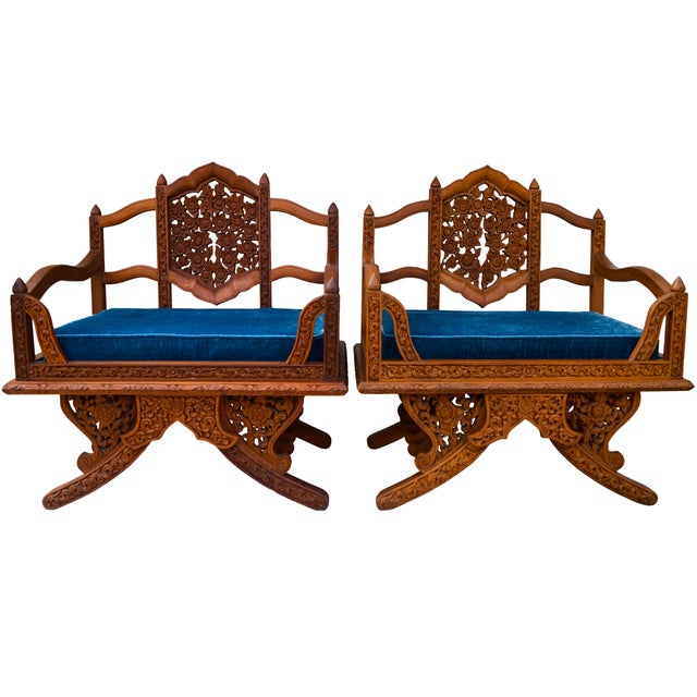 Anglo-Indian Carved Rosewood Chairs, Pair For Sale - Image 9 of 9