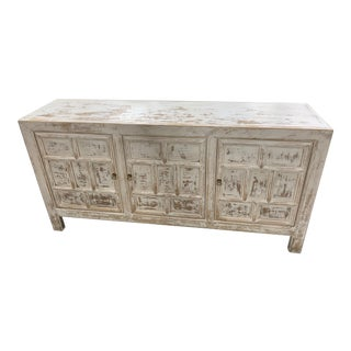 Distressed White 3 Door Cabinet For Sale