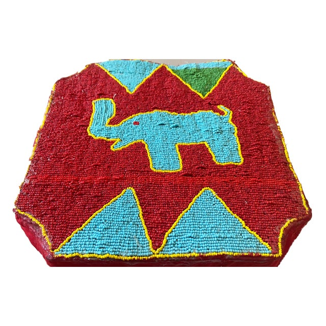 """1980s African Yoruba Beaded Low Stool Nigeria 8.5"""" H For Sale - Image 5 of 6"""