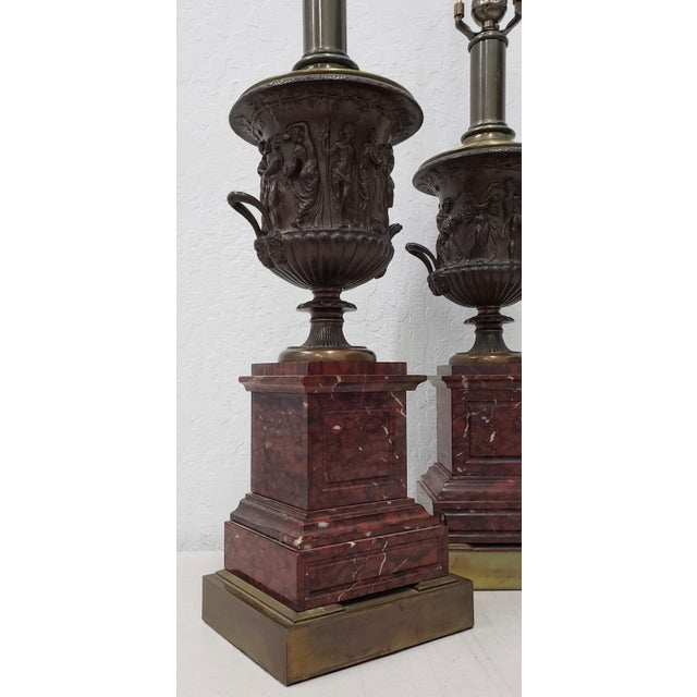 Mid 20th Century Vintage Classical Roman Bronze Urns & Marble Table Lamps - a Pair For Sale - Image 5 of 11
