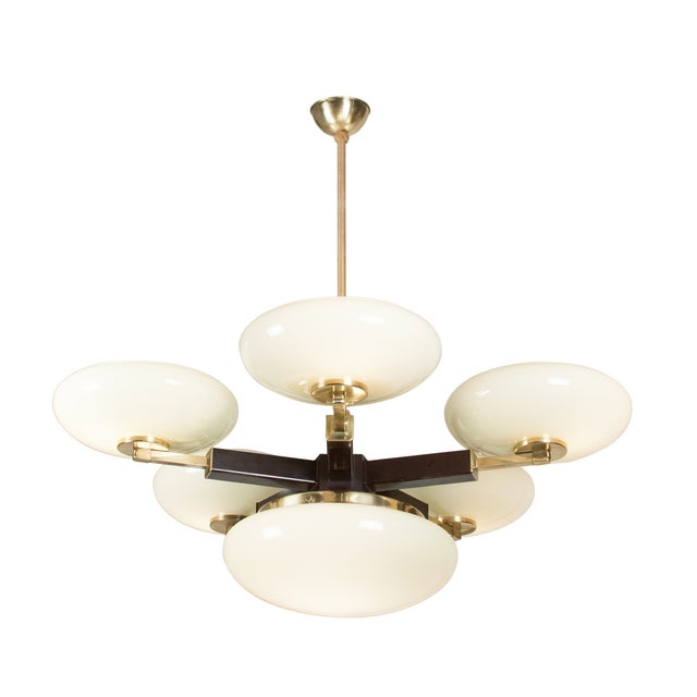 Opaque Glass and Brass Chandelier, German 1930s - Image 5 of 7