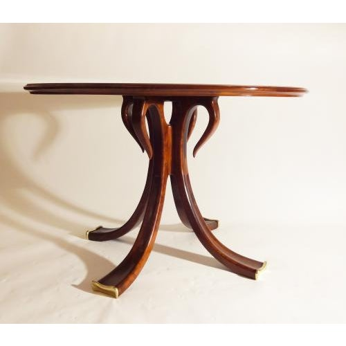Mid-Century Modern Osvaldo Borsani Rare and Important Center Table in Cherry and Glass For Sale - Image 3 of 9