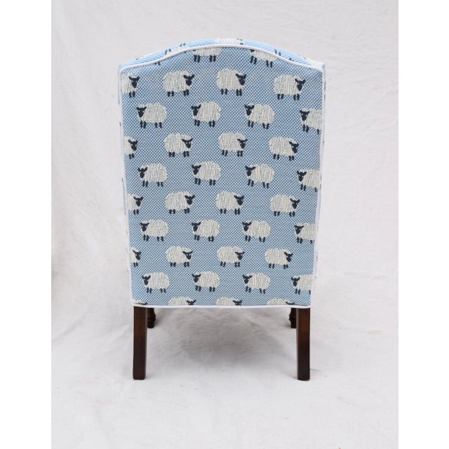 """Cotton Scalamandre, """" Ewe Too in Blue"""" Petite Antique Slipper Chairs For Sale - Image 7 of 13"""
