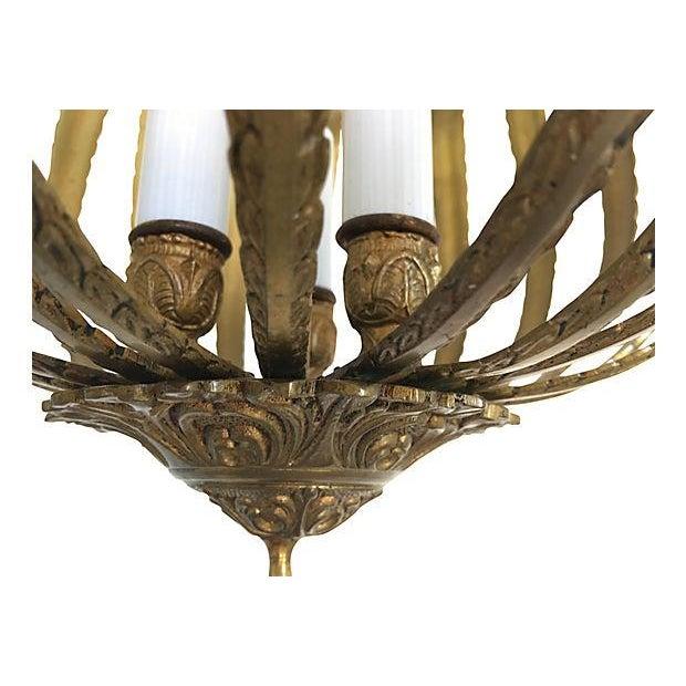 Mid-Century Brass Acanthus Lantern Chandelier - Image 6 of 6